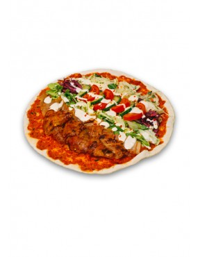Lahmacun with kebab meat and salad